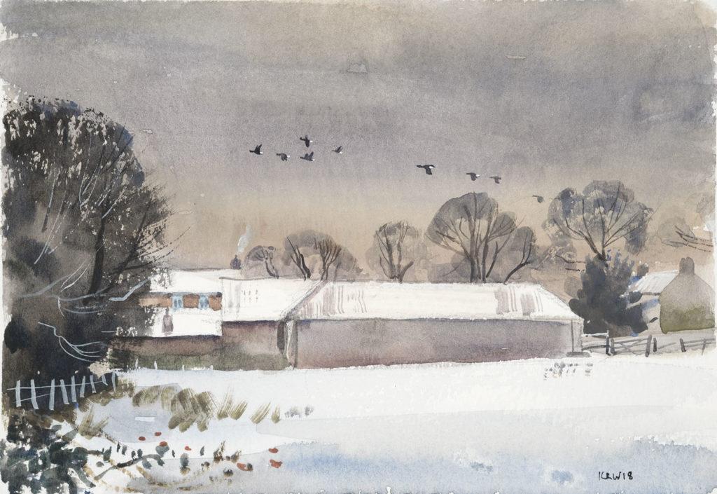 Norfolk Barns Under Snow